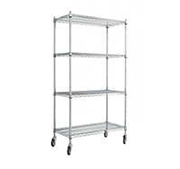 4 Level Chrome wire trolley with Standard Shelves