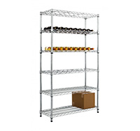 Full Height Chrome wire Wine Rack with Under Storage