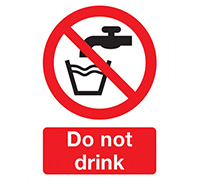 100mm x 75mm Do Not Drink  Self Adhesive or Rigid Plastic