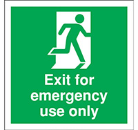 150mm x 150mm Fire Exit Sign For Emergency Use Only  Rigid Plastic