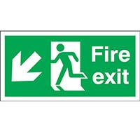 150mm x 450mm Fire Exit Sign Exit Run Man Arrow Down L  Rigid Plastic