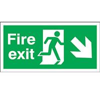 150mm x 450mm Fire Exit Sign Exit Run Man Arrow Down R  Rigid Plastic