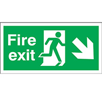 150mm x 450mm Fire Exit Sign Exit Run Man Arrow Down R  Self Adhesive Vinyl