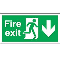 150mm x 450mm Fire Exit Sign Exit Running Man Arrow Down  Rigid Plastic