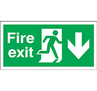 150mm x 450mm Fire Exit Sign Exit Running Man Arrow Down  Self Adhesive Vinyl