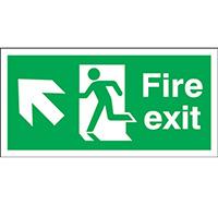 150mm x 450mm Fire Exit Sign Exit Running Man Arrow Up L  Rigid Plastic