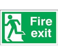 300mm x 600mm Fire Exit Sign Exit Running Man Left  Rigid Plastic