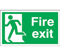 300mm x 600mm Fire Exit Sign Exit Running Man Left  Self Adhesive Vinyl