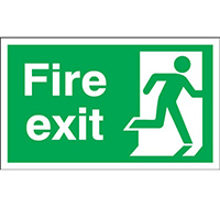 300mm x 600mm Fire Exit Sign Exit Running Man Right  Self Adhesive Vinyl
