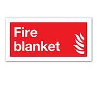 100mm x 200mm Fire Blanket Sign  Self Adhesive or Rigid Plastic