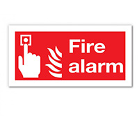 100mm x 200mm Fire Alarm Sign  Self Adhesive or Rigid Plastic