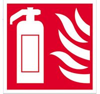 200mm x 200mm Fire Extinguisher Icon Sign  Self Adhesive or Rigid Plastic