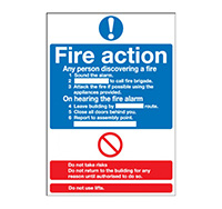 A4 Fire Action Sign  Standard   Rigid Plastic