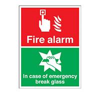 250mm x 200mm Fire Alarm In Case Of Fire Break Glass Sign