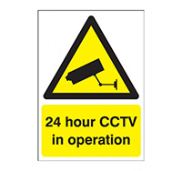 A3 24 hour CCTV in Operation Sign  Self Adhesive Vinyl
