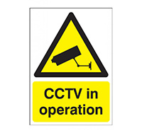 A4 CCTV in Operation Sign  Self Adhesive Vinyl
