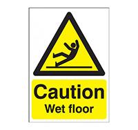 A4 Caution Wet Floor Sign  Rigid Plastic