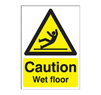 A4 Caution Wet Floor Sign  Self Adhesive Vinyl