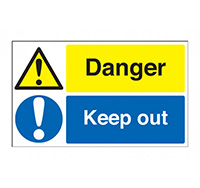 300mm x 500mm Danger Keep Out Sign  Self Adhesive Vinyl