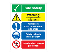 400mm x 300mm Site Safety Warning Dangerous Sign  Rigid Plastic