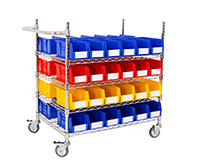 Chrome Wire Trolley with Coloured Bins