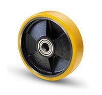 250mm Polyurethane Tyred / Cast Iron Centre Wheel
