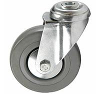 75mm Bolt Hole Swivel Castor - Grey Rubber Tyred