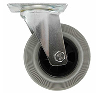 Thumbnail 125mm Top Plate Swivel Castor - Grey Rubber Tyred