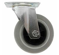 200mm Top Plate Swivel Castor - Grey Rubber Tyred