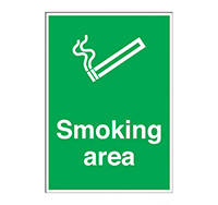 A4 Smoking Area Sign  Self Adhesive Vinyl