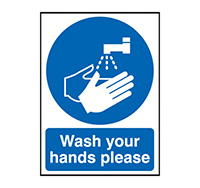 400mm x 300mm Wash Your Hands Please  Rigid Plastic