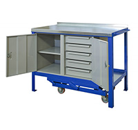 Steel Mobile Workbench with 5 Drawer Unit