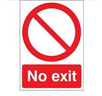 400mm x 300mm No Exit Sign  Self Adhesive or Rigid Plastic