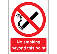 210mm x 148mm No Smoking Beyond this Point Sign  Self Adhesive or Rigid Plastic