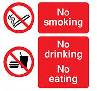300mm x 300mm No Smoking No Drinking No Eating  Self Adhesive or Rigid Plastic