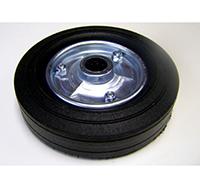 200mm Black Solid Rubber Tyre / Black Metal Centre - Plain Bore