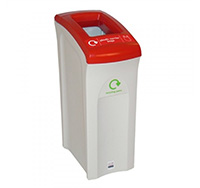 82 litre Midi Envirobin - Open Aperture  Grey/White  with Red Lid