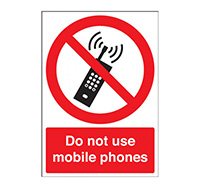 A4 Do Not Use Mobile Phones Sign  Self Adhesive Vinyl