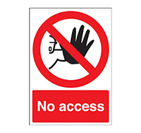 A4 No Access Sign  Self Adhesive Vinyl