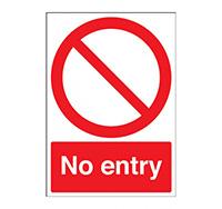 A4 No Entry Sign  Circular   Diagonal Symbol   Rigid Plastic