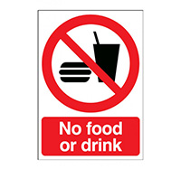 A4 No Food Or Drink Sign  Self Adhesive Vinyl