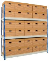 Rivet Racking Archive Storage c/w boxes     Blue/Grey
