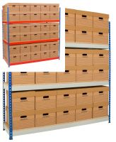 Rivet Racking Archive Storage c/w boxes     Blue/Orange