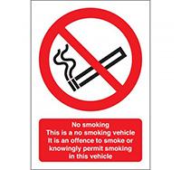 100mm x 75mm No Smoking Vehicle Sign  Self Adhesive or Rigid Plastic
