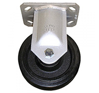 100mm Heavy Duty Top Plate Fixed Castor - Rubber Tyre / Cast Iron Centre