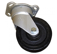 150mm Heavy Duty Top Plate Swivel Castor - Rubber Tyre / Cast Iron Centre