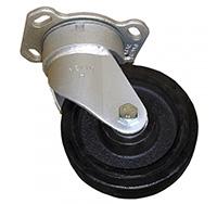 200mm Heavy Duty Top Plate Swivel Castor - Rubber Tyre / Cast Iron Centre
