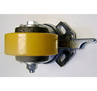 Thumbnail 200mm Heavy Duty Top Plate Swivel Castor With Directional Wheel Brake - Polyurethane Tyre / Cast Iron Centre